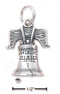 Sterling Silver Liberty Bell Charm (Hollow Back)