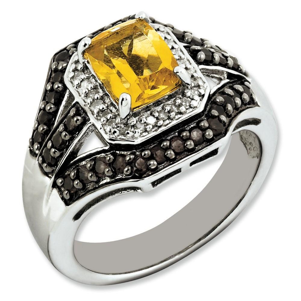 Jewelryweb Sterling Silver Citrine and Smokey Quartz And Rough Diamond Ring - Size 7 at Sears.com