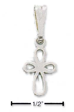 Sterling Silver Mini Rounded Open Cross Charm