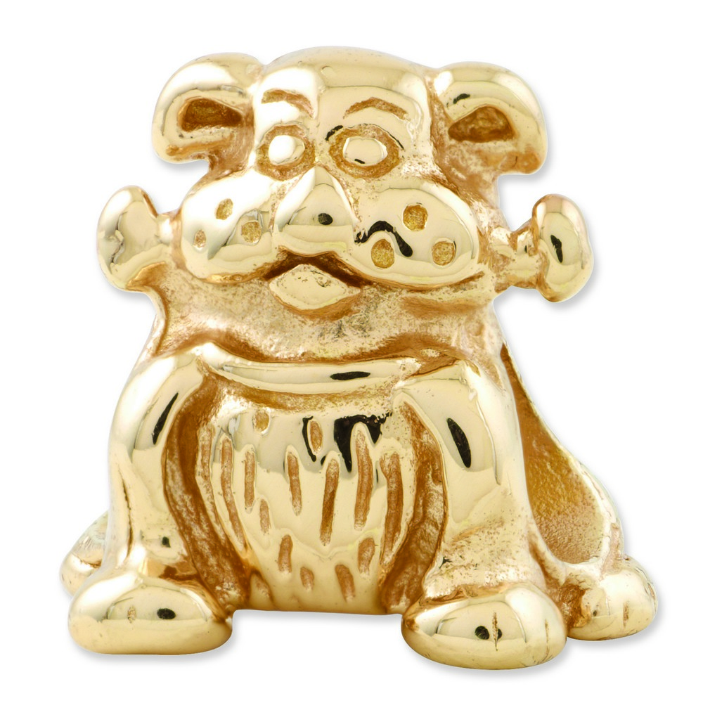 Jewelryweb Sterling Silver Gold-plated Reflections Dog With Bone Bead Charm at Sears.com