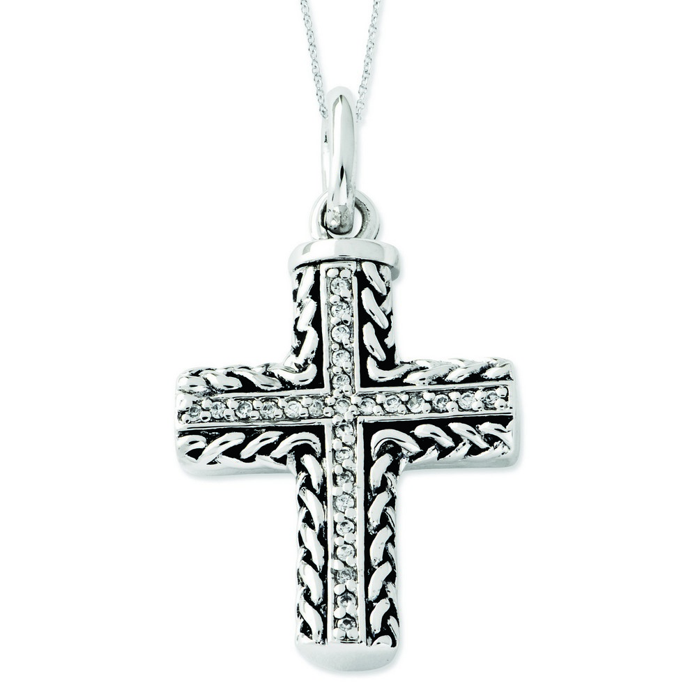 Jewelryweb Sterling Silver CZ Antiqued Cross Ash Holder 18inch Necklace at Sears.com