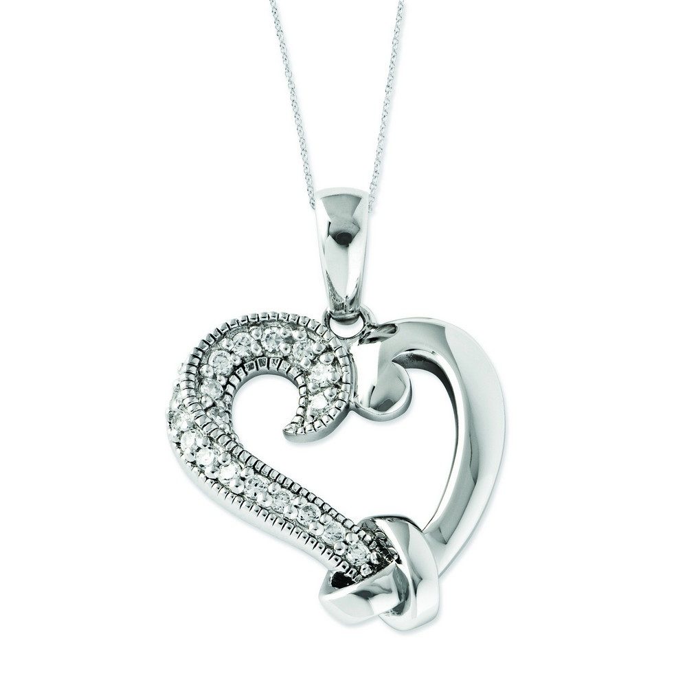 Jewelryweb Sterling Silver CZ Tied By Love 18inch Heart Necklace at Sears.com