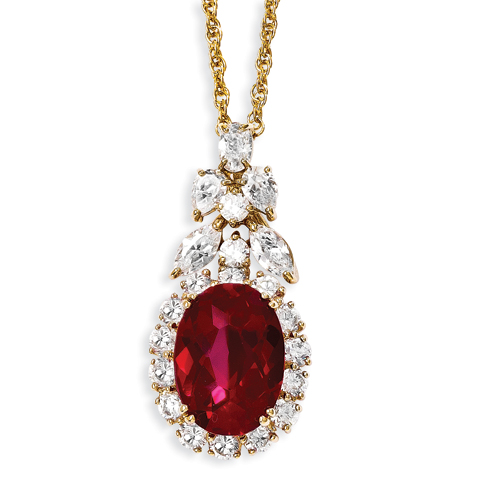 Jewelryweb Kennedy Gold-plated Red CZ 18inch Necklace - About 0.5 Inch Wide at Sears.com