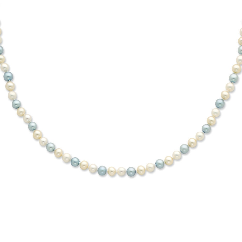 Jewelryweb Sterling Silver 5-6mm Blue and White Fw Cultured Pearl Necklace - 20 Inch at Sears.com