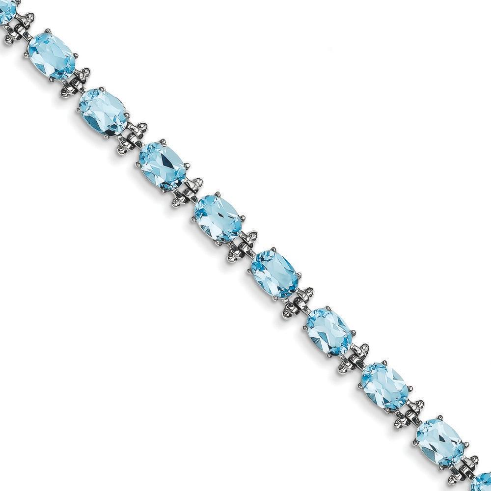 Jewelryweb 14k White Gold Blue Topaz Bracelet - 7 Inch - 7mm - Box Clasp at Sears.com