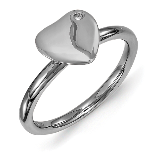 Jewelryweb 2.25mm Sterling Silver Stackable Expressions Ruthenium-plated Heart Diamond Ring - Size 7
