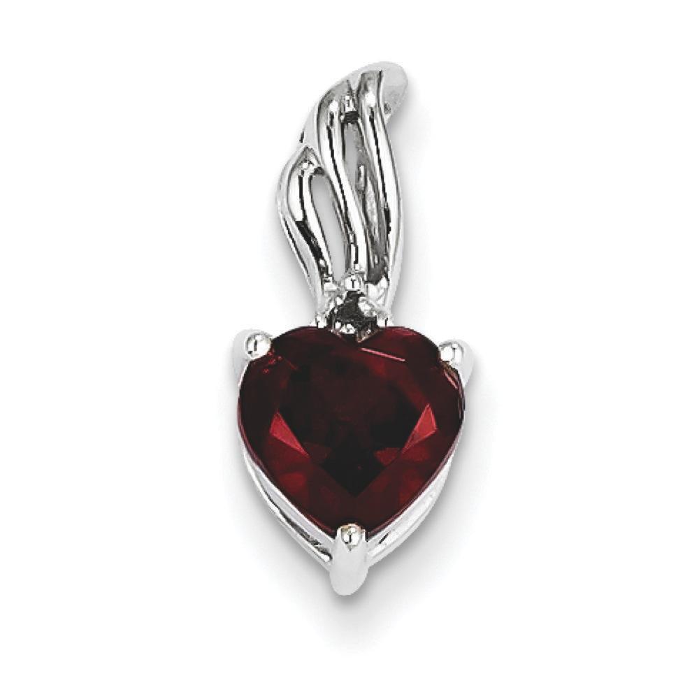 Jewelryweb 14k White Gold Diamond and Garnet Heart Pendant at Sears.com