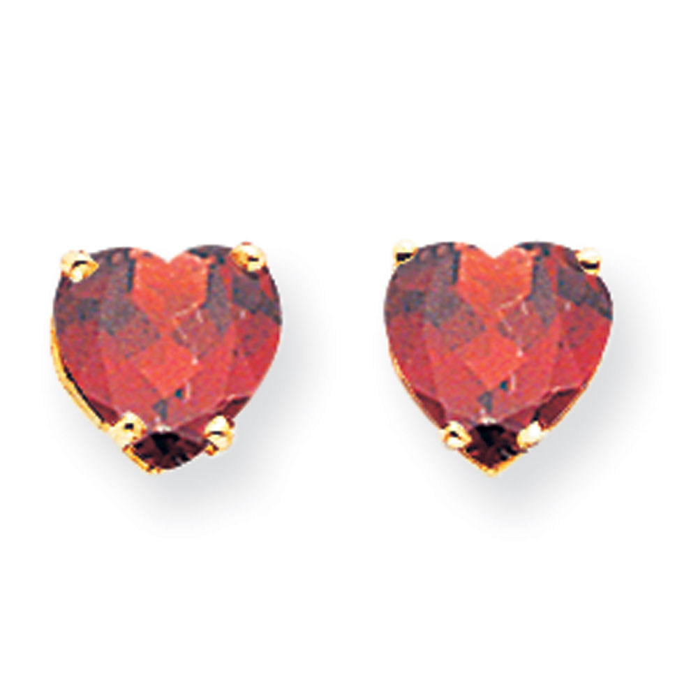 Jewelryweb 14k 7mm Heart Garnet Earrings at Sears.com