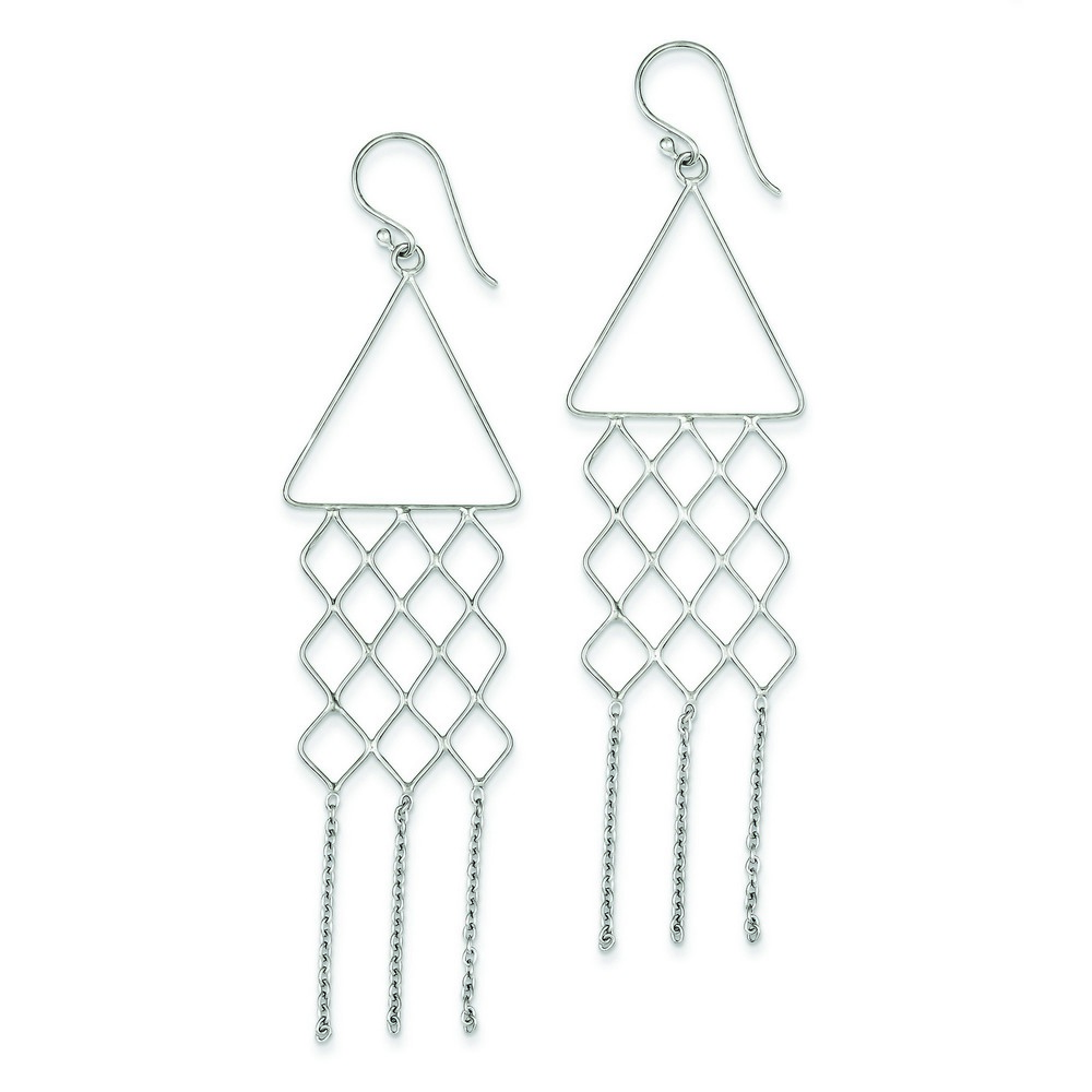sterling silver rhodium plated fancy triangle dangle earrings 3 3 grams ebay. Black Bedroom Furniture Sets. Home Design Ideas