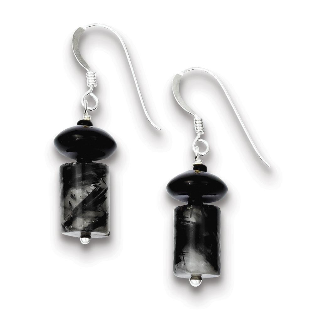 Jewelryweb Sterling Silver Black Agate Black Glass Bead Tourmalinated Qtz Earrings at Sears.com