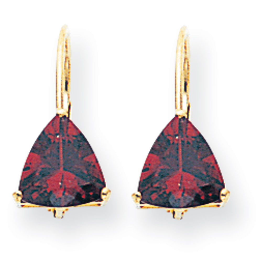 Jewelryweb 14k 7mm Trillion Garnet Leverback Earrings at Sears.com