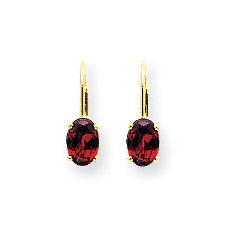 Jewelryweb 14k 7x5mm Oval Garnet Leverback Earrings at Sears.com