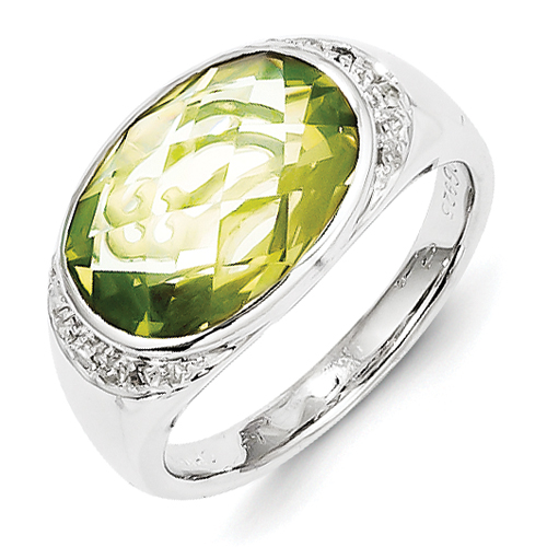 Jewelryweb Sterling Silver Diamond and Lime Quartz Ring - Size 6