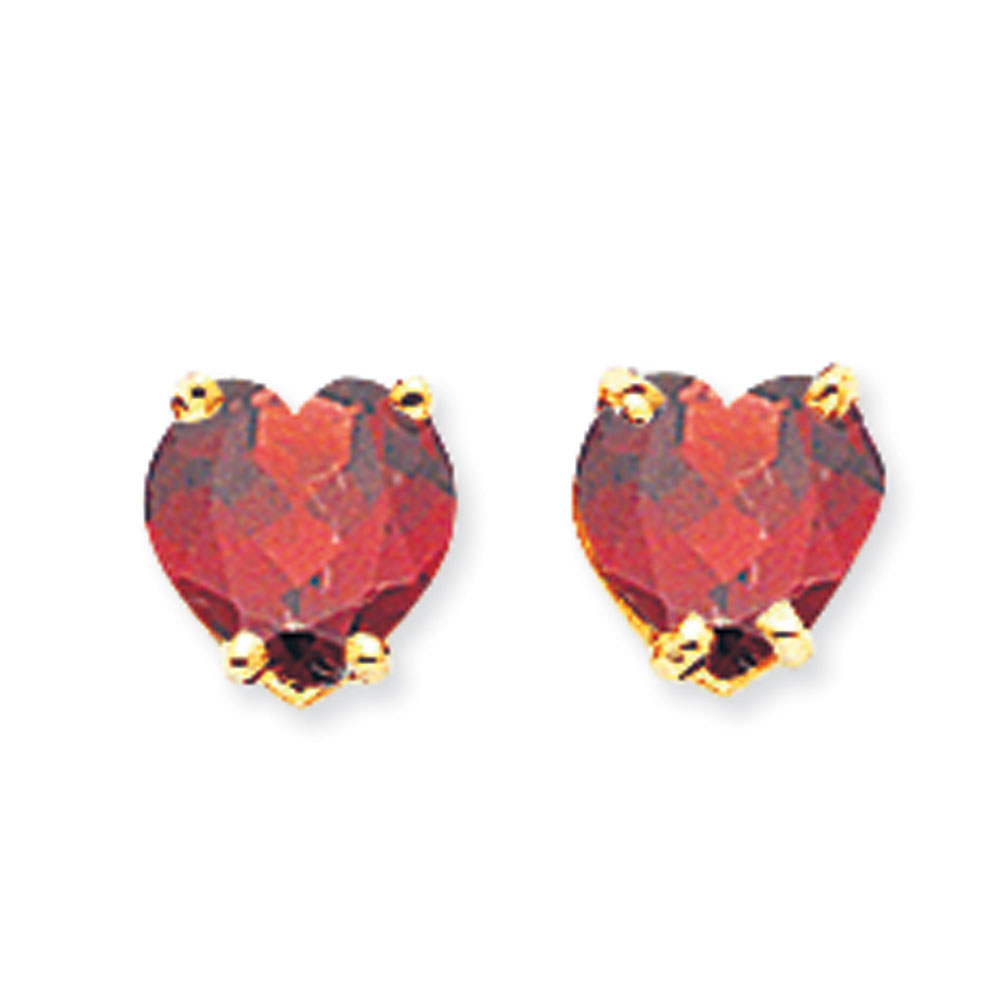 Jewelryweb 14k 6mm Heart Garnet Earrings at Sears.com