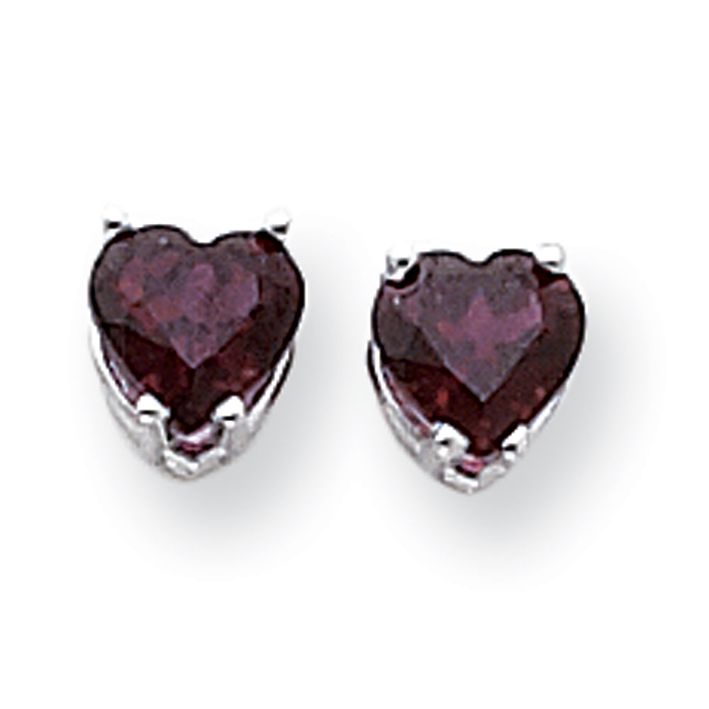 Jewelryweb 14k White Gold 6mm Heart Rhodalite Garnet Earrings at Sears.com