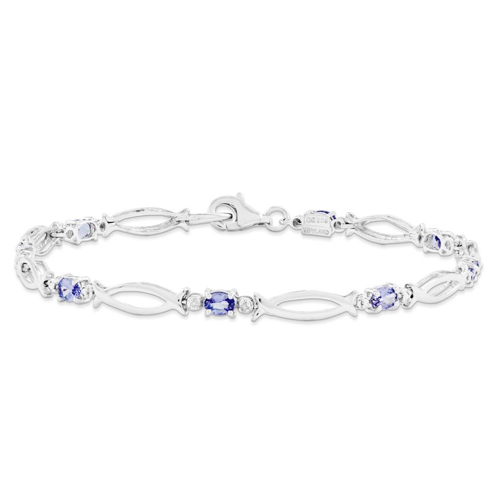 Jewelryweb Sterling Silver Tanzanite and Diamond Bracelet at Sears.com