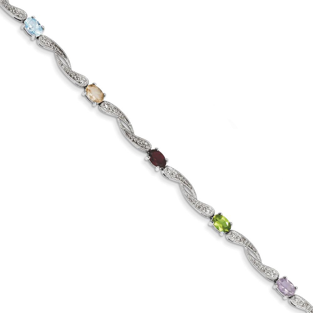 Jewelryweb Sterling Silver Diamond Multi-colored Gemstone Bracelet
