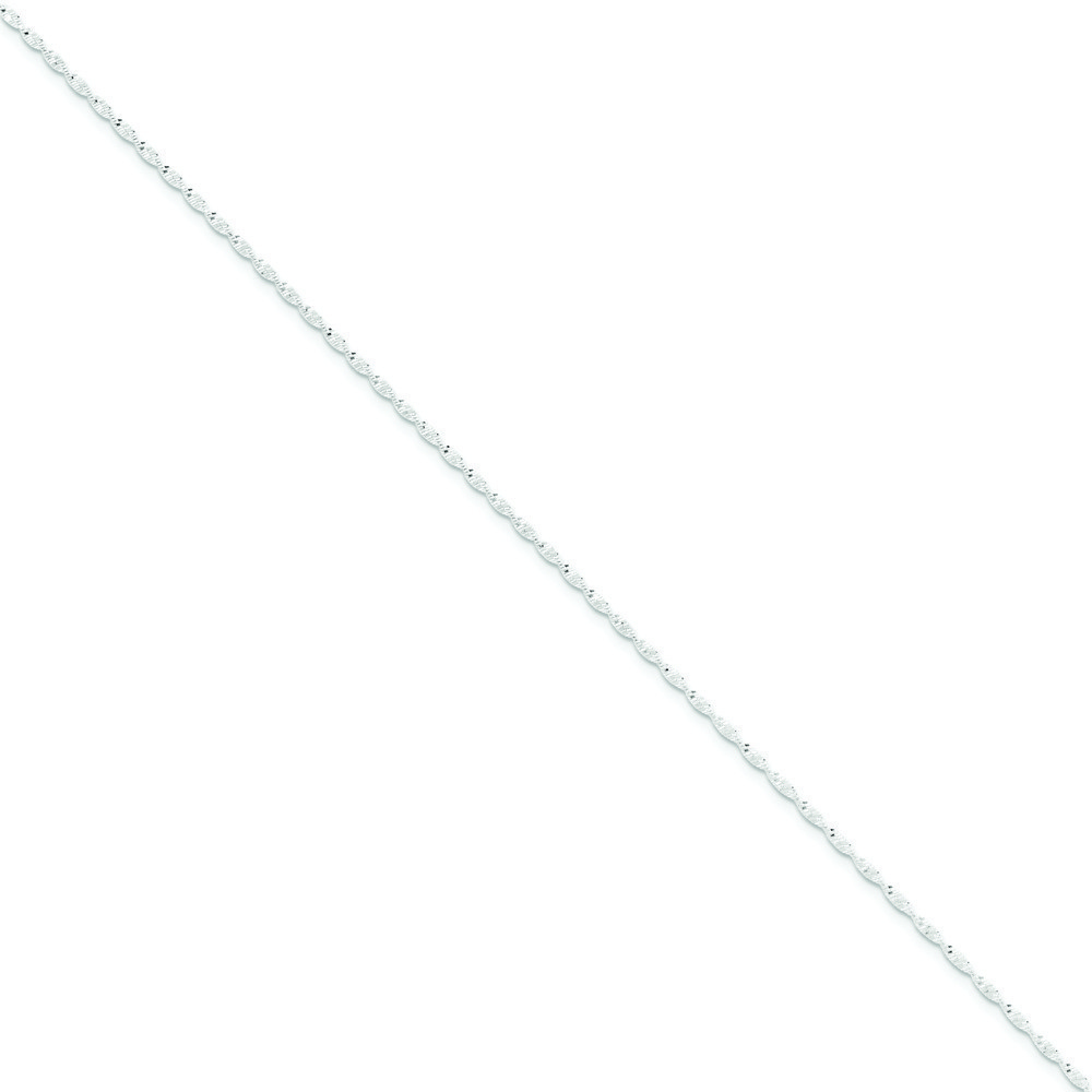 Jewelryweb Sterling Silver 1.65mm Twisted Herringbone Chain Necklace - 18 Inch