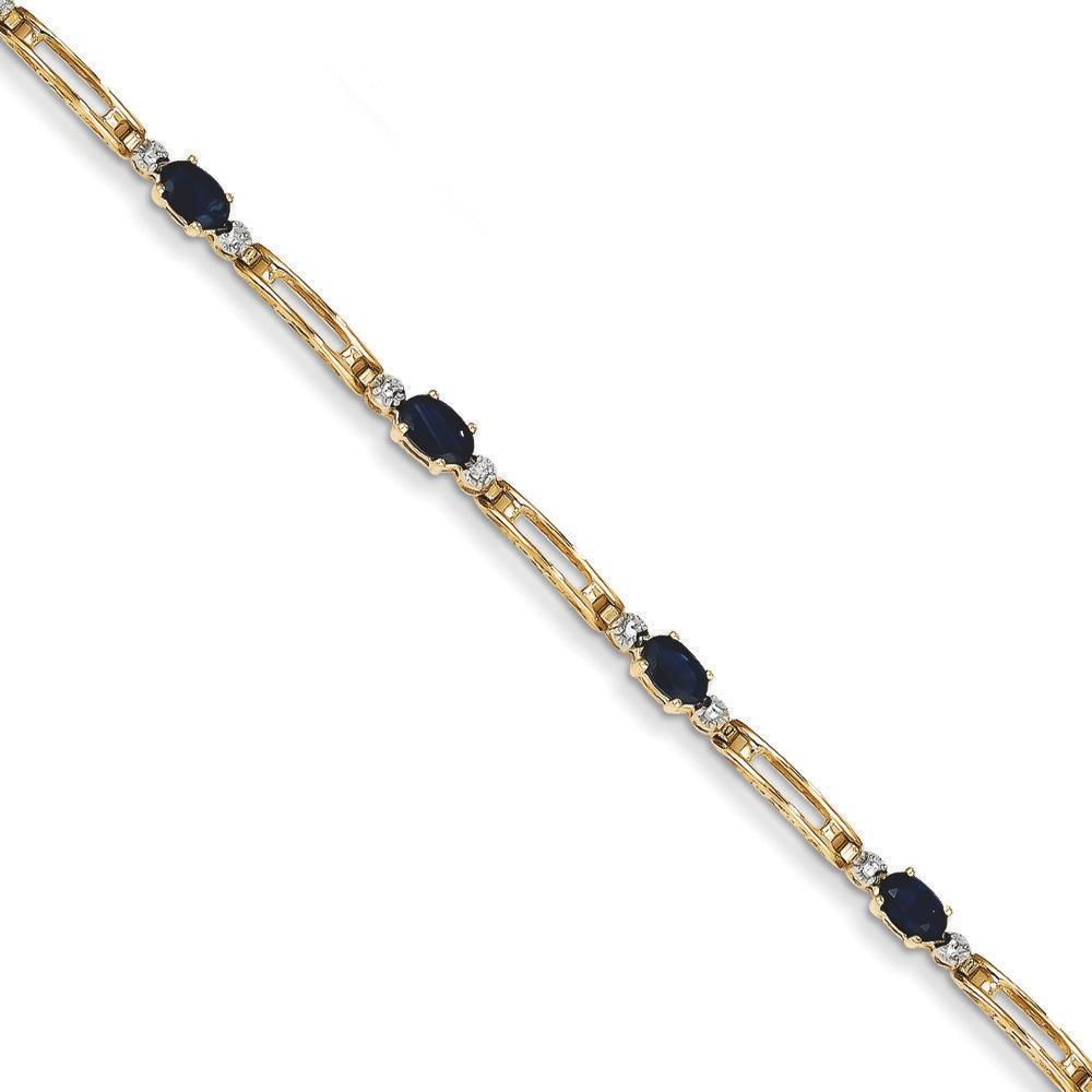 Jewelryweb 14k Fancy Diamond Sapphire Bracelet - 7 Inch - Lobster Claw at Sears.com