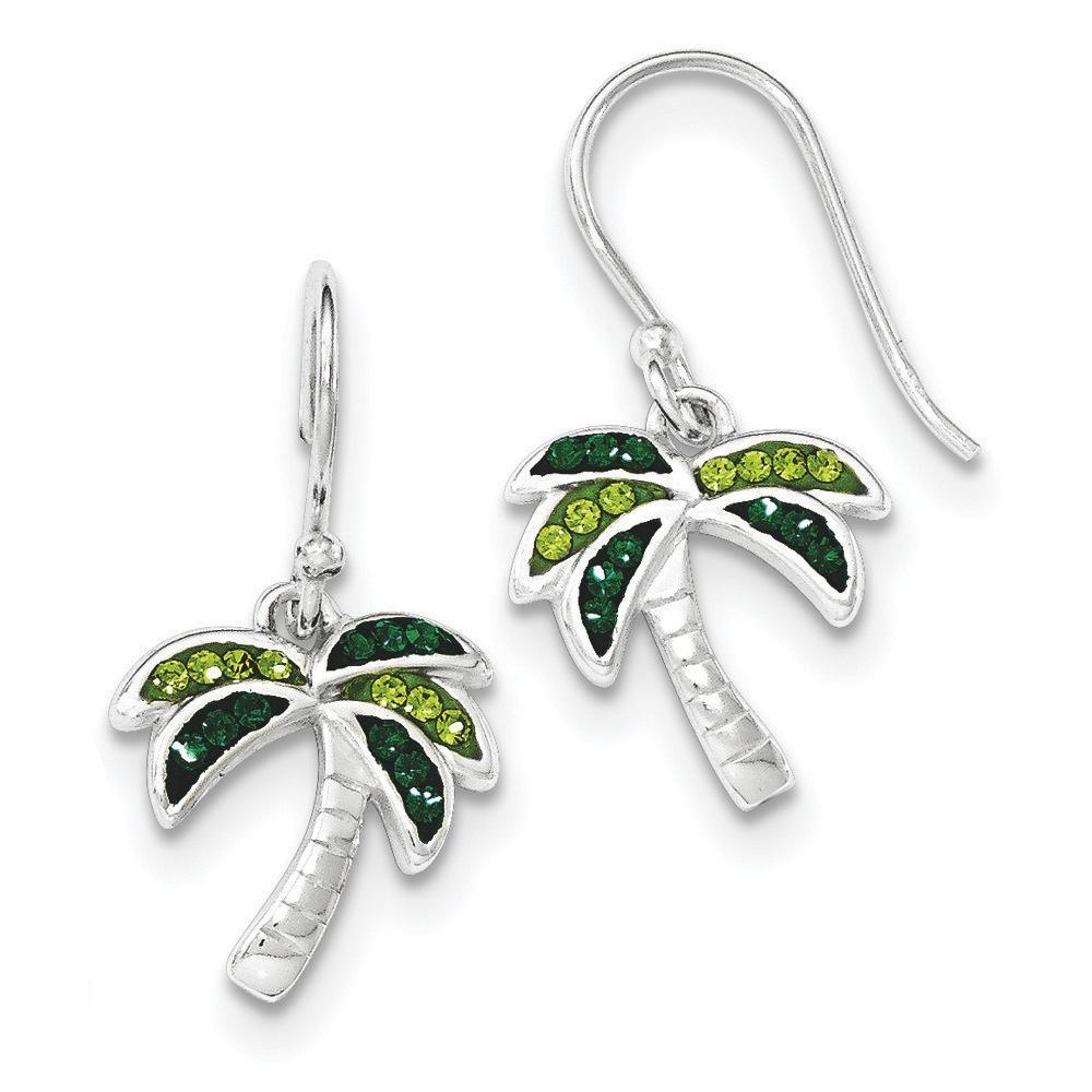 Jewelryweb Sterling Silver Light Dark Green Crystal Palm Tree Earrings