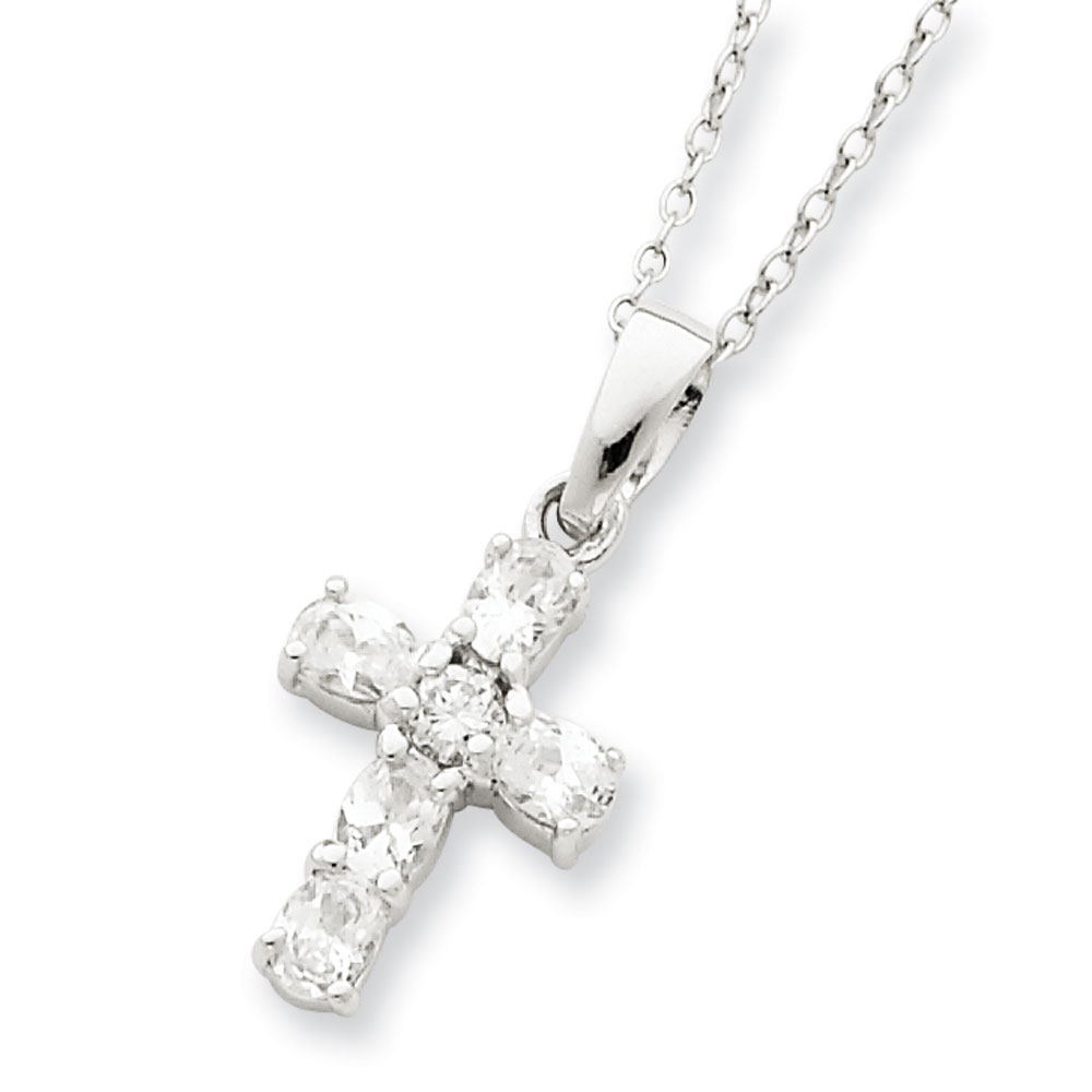 Jewelryweb Sterling Silver CZ Cross on Box Chain Necklace - 16 Inch - Spring Ring at Sears.com