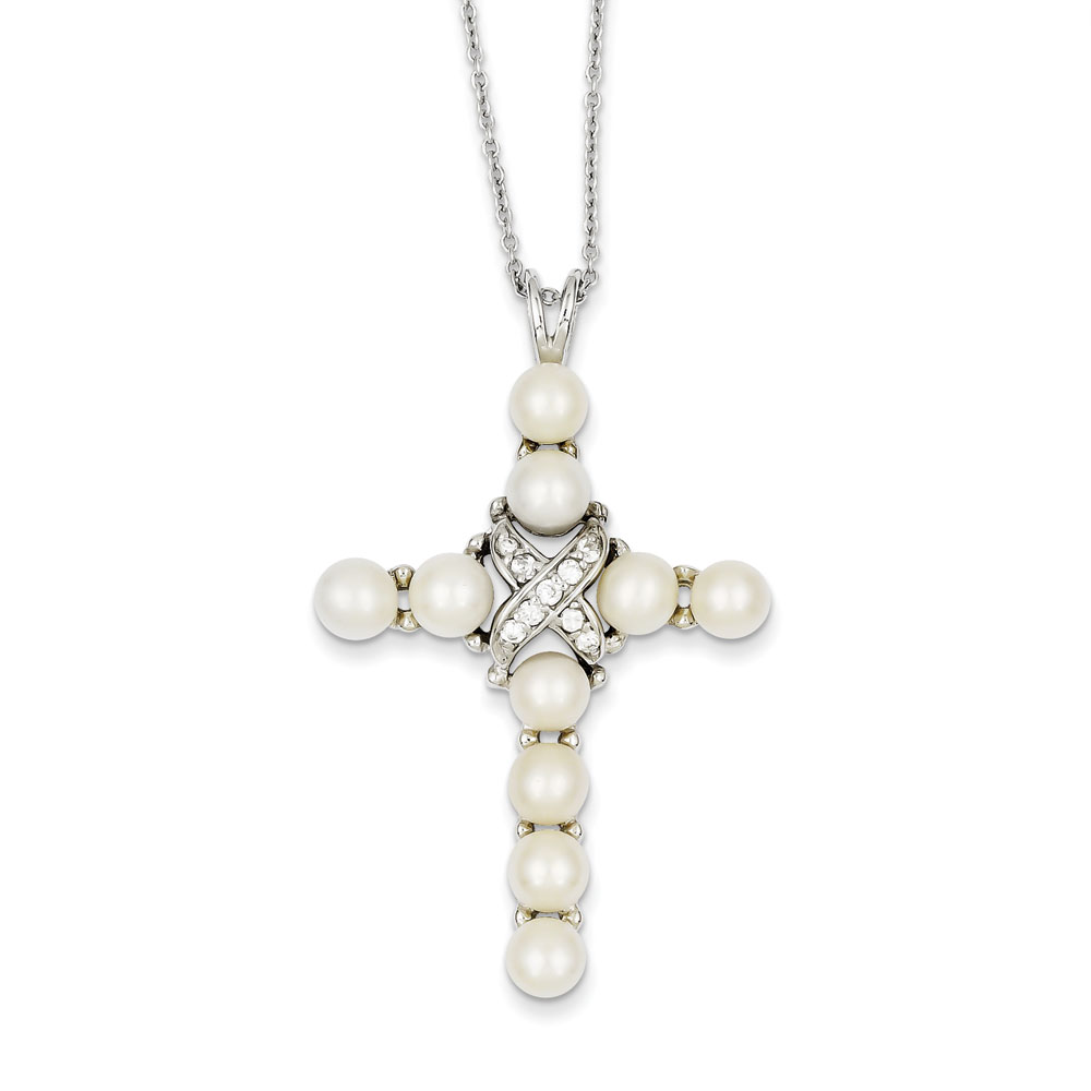 Jewelryweb Sterling Silver CZ Freshwater Pearl Cross Necklace - 16 Inch - Spring Ring at Sears.com