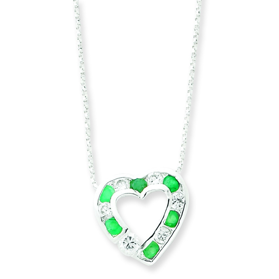 Jewelryweb Stone CZ Heart Slide on Chain Necklace - 18 Inch - Spring Ring at Sears.com
