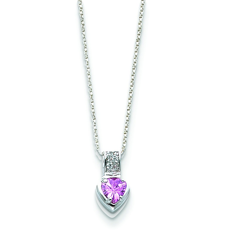 Jewelryweb Sterling Silver Pink CZ Heart on Chain Necklace - 18 Inch - Spring Ring at Sears.com