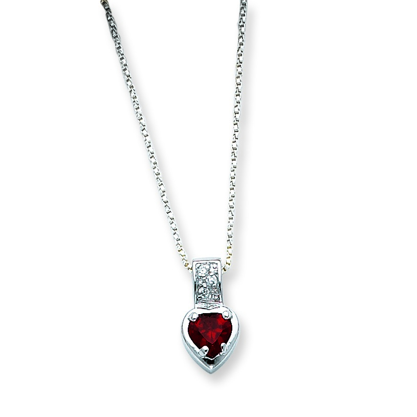 Jewelryweb Sterling Silver Red CZ Heart on Chain Necklace - 18 Inch - Spring Ring at Sears.com