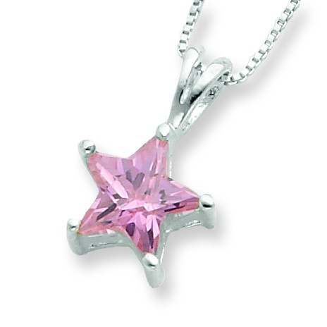 Jewelryweb Sterling Silver Pink CZ Star Necklace - 18 Inch - Spring Ring at Sears.com