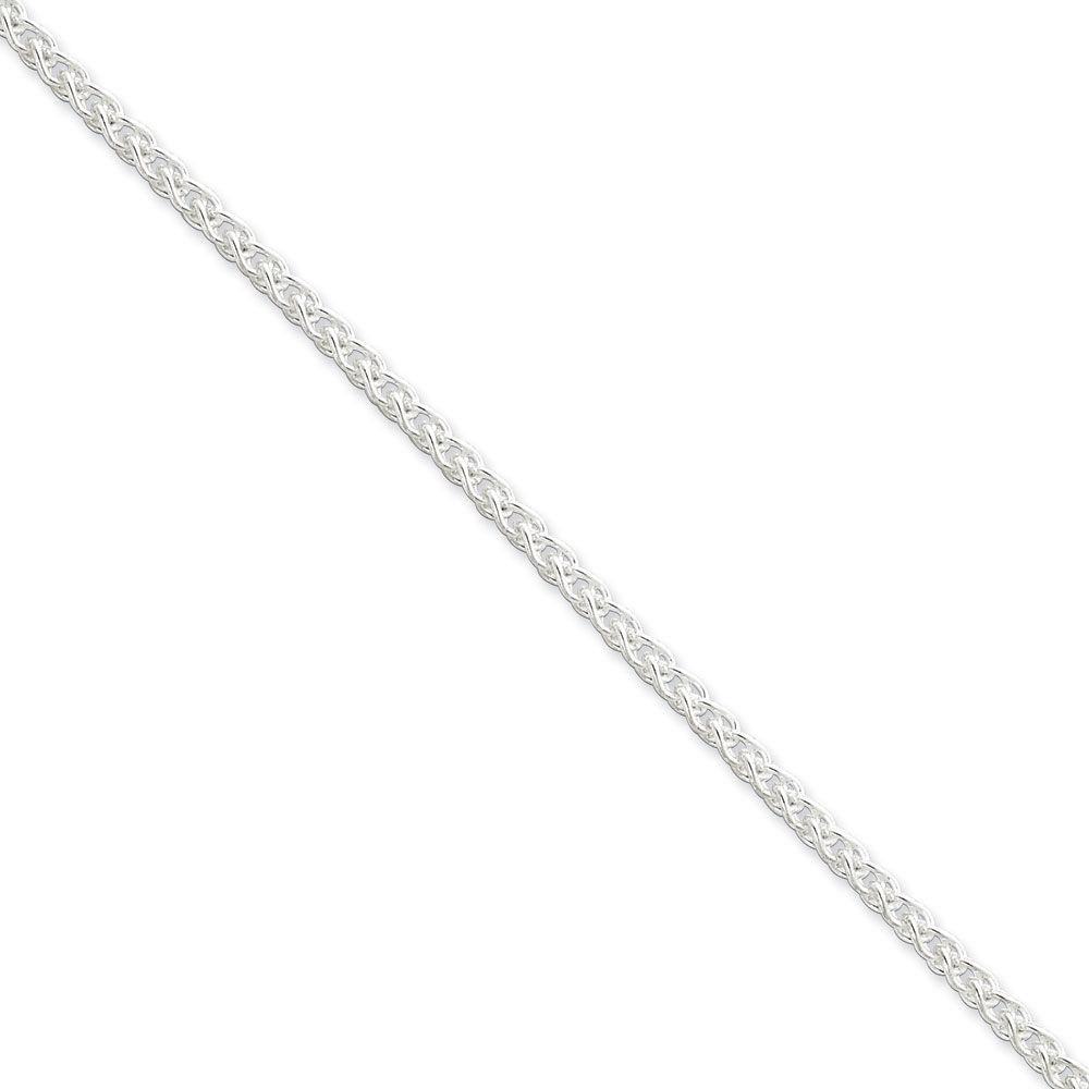 Jewelryweb Sterling Silver Wheat Chain - 3mm - 24 Inch - Lobster Claw