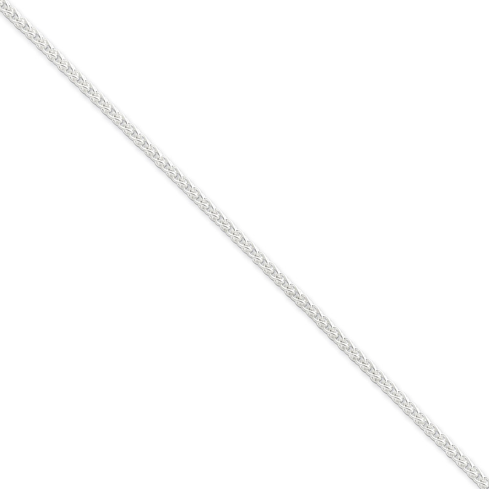 Jewelryweb Sterling Silver Wheat Chain - 2.5mm - 24 Inch - Lobster Claw