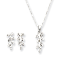 Jewelryweb Sterling Silver CZ Earrings Necklace Box Chain Set - 18 Inch at Sears.com