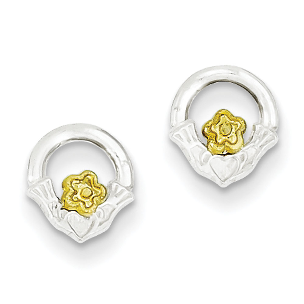 Jewelryweb Sterling Silver and Vermeil Claddagh Mini Children Earrings