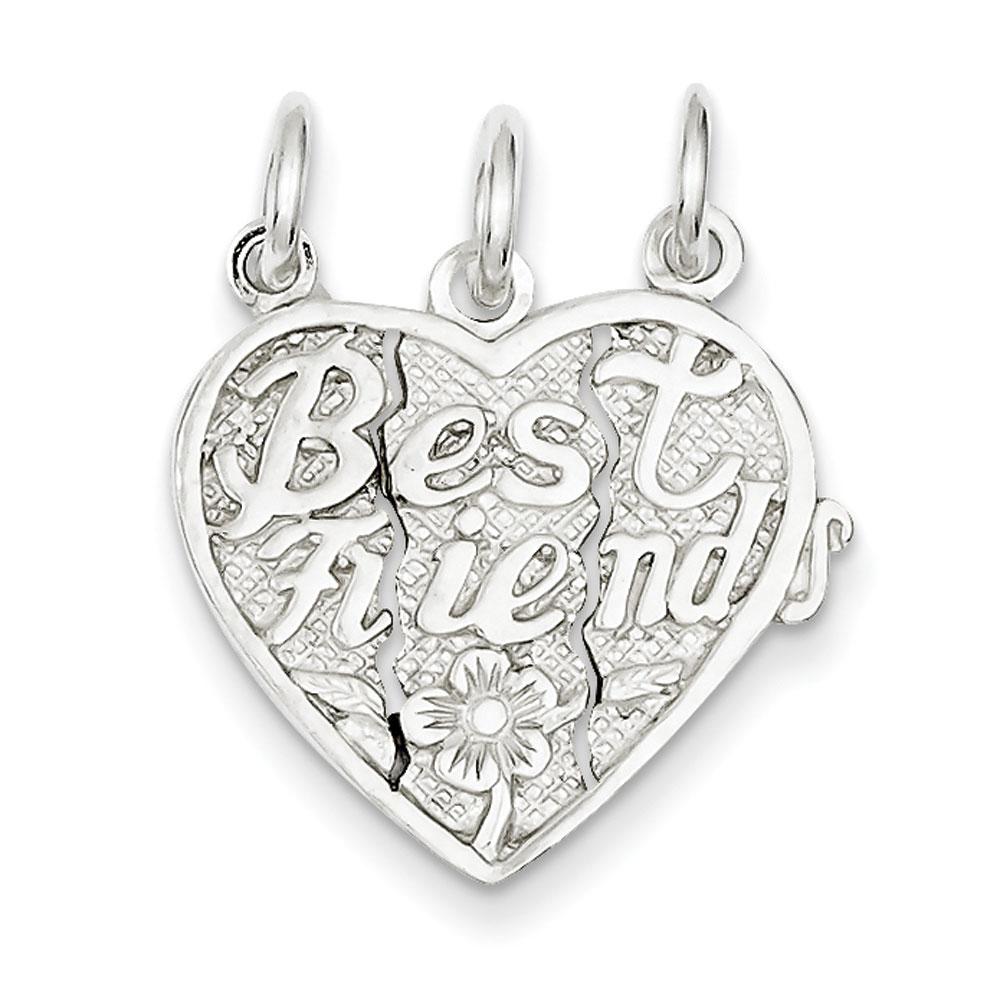 Jewelryweb Sterling Silver Best Friends 3-Piece Break Apart Heart Charm at Sears.com