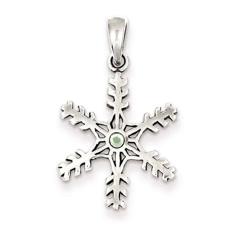 Jewelryweb Sterling Silver Antique Snowflake Light Green Stone Pendant at Sears.com