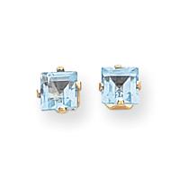 Jewelryweb 14k Square Blue Topaz Earrings - Measures 5x5mm