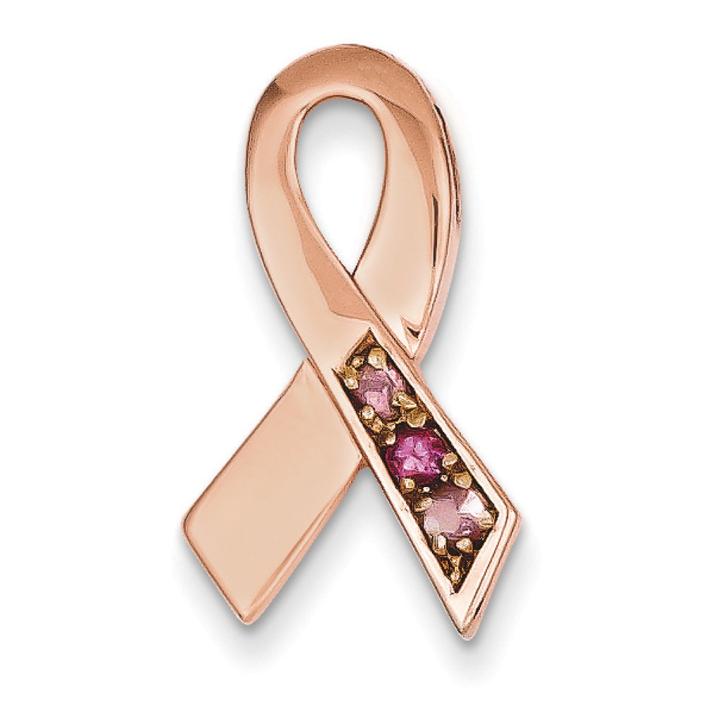 Jewelryweb 14k Rose Gold Pink Tourmaline Awareness Ribbon Slide - Measures 21.8x12.3mm at Sears.com