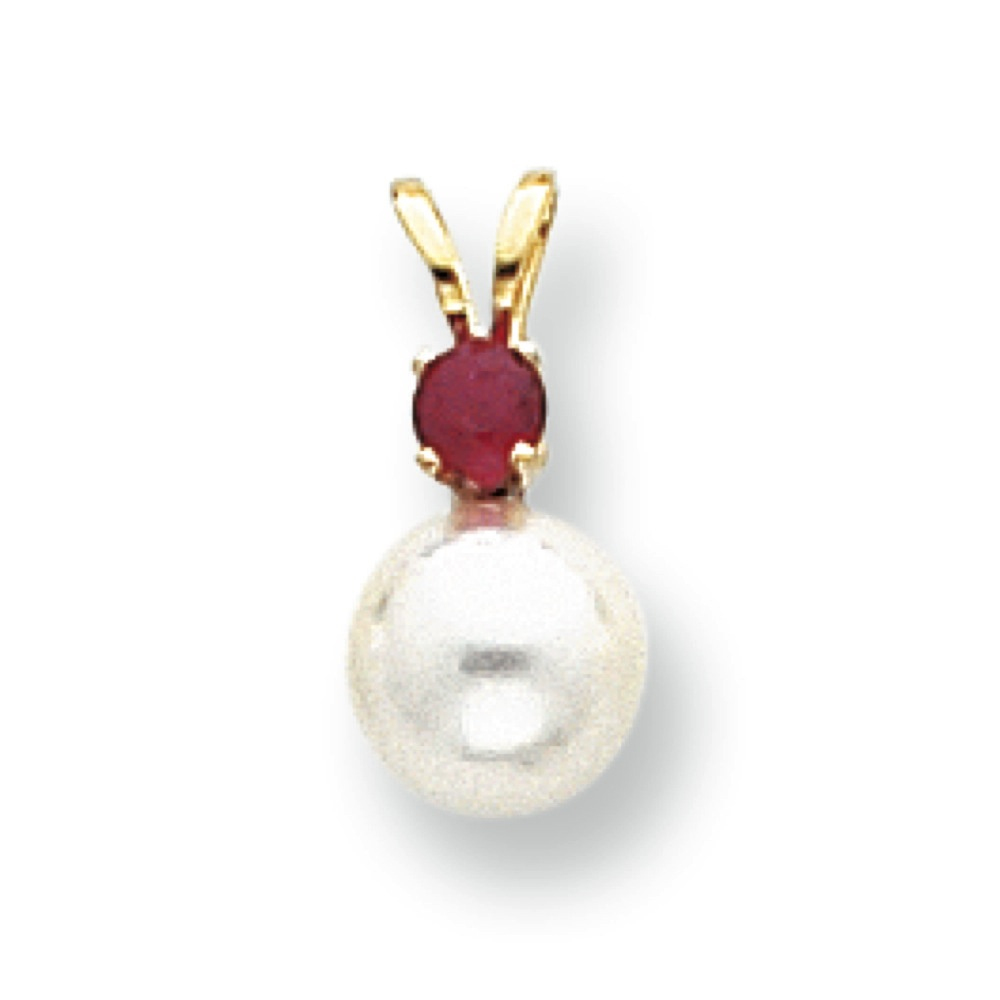 Jewelryweb 14k 7mm White Cultured Pearl and .17ct. Ruby Pendant - Measures 14x7mm