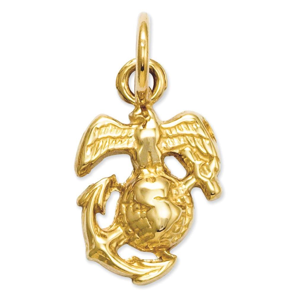 Jewelryweb 14k Gold U. S. Marine Corps Charm - Measures 16x9.4mm