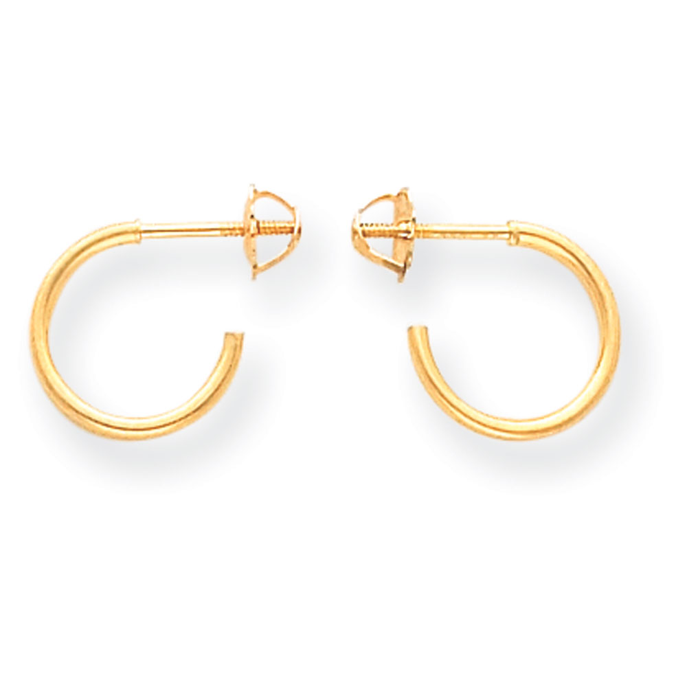 Jewelryweb 14k Hoop Screw-Backback Childrens Earrings - Measures 11x11mm