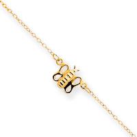 Jewelryweb 14k 9 Butterfly Anklet - 9 Inch