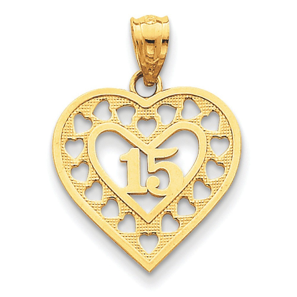 Jewelryweb 14k Gold 15 in Cut-out Heart Frame Pendant
