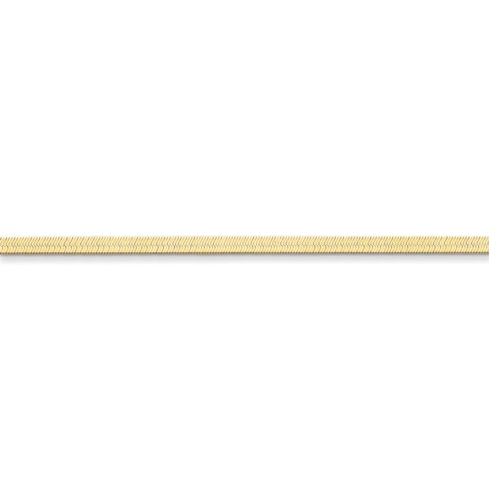 Jewelryweb 14k 3.0mm Silky Herringbone Chain Necklace - 30 Inch - Lobster Claw