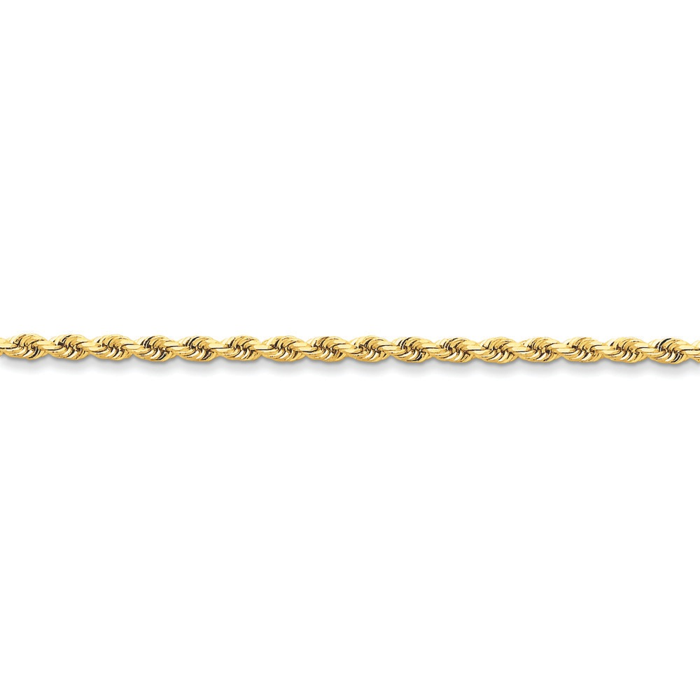 Jewelryweb 14k 3mm D-Cut Rope Lobster Clasp Chain Anklet - 9 Inch - Lobster Claw