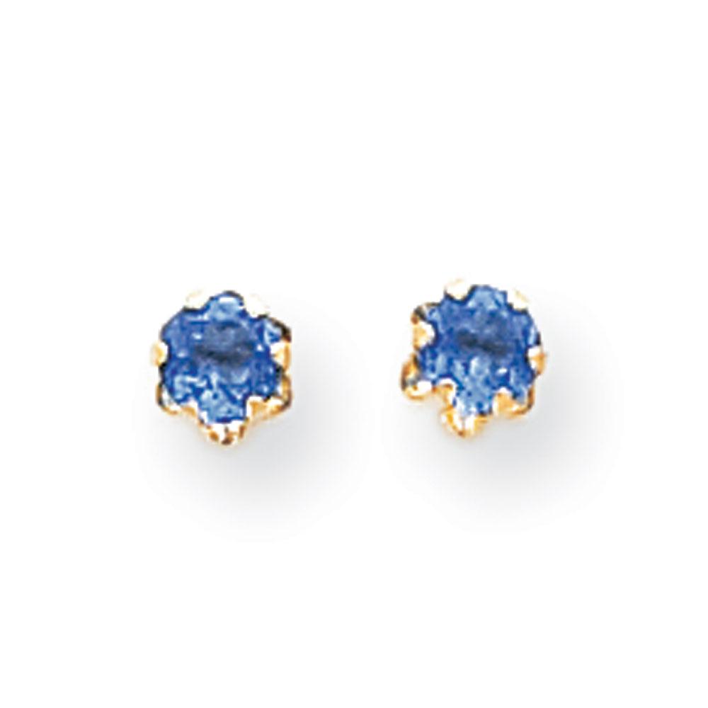 Jewelryweb 14k 4mm Synthetic Sapphire (Sep) Screwback Earrings - Measures 4x4mm