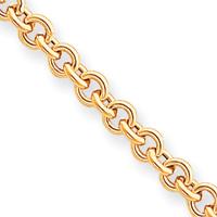Jewelryweb 14k 7.5 Inch 5mm Polished Fancy Rolo Link Bracelet - Lobster Claw at Sears.com