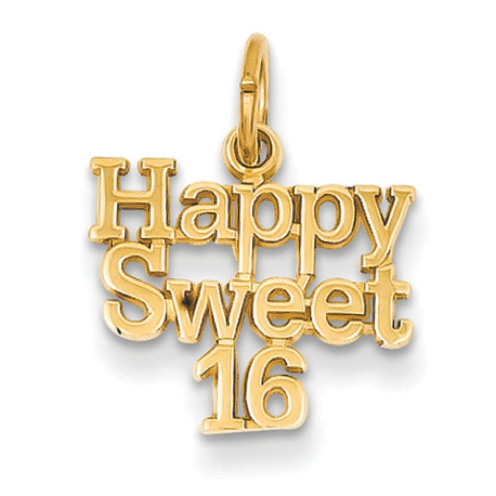 Jewelryweb 14k Happy Sweet 16 Charm - Measures 18.4x14.1mm at Sears.com