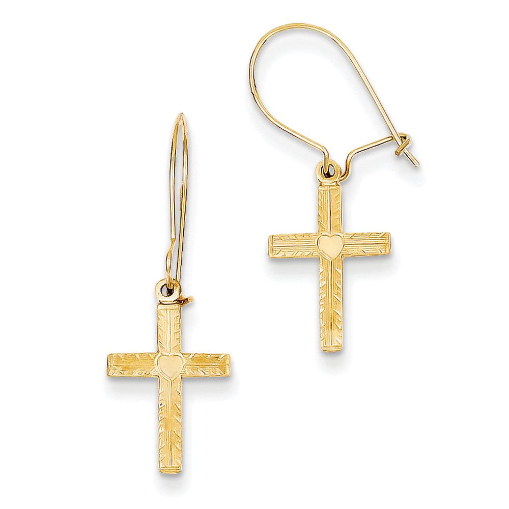 Jewelryweb 14k Kidney Wire Cross Earrings - Measures 15x10mm at Sears.com