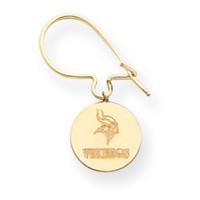 Jewelryweb 14K Minnesota Vikings Round Disc Kidney Wire Earrings